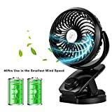 AIVANT Battery Operated and USB Powered Fan with TWO batteries, Rechargeable Clip On Fans Mini Fan for Baby Stroller,Car, Desktop, Home and Outdoors[40Hrs Use in the Smallest Wind Speed]