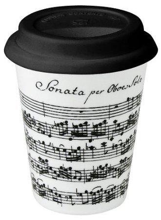 Konitz 9-Ounce Vivaldi Libretto White Travel Mugs and Silico