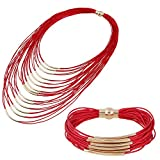 D EXCEED Ladies Gift Idea Multi Strand Magnetic Clasp Necklace Bracelet Jewelry Set for Women Red