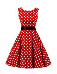 Kisstyle Women'S Sleeveless Vintage Cocktail Rockailly Dots Dress As Picture