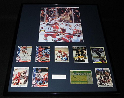 1980 Miracle on Ice USA Hockey Team Signed Framed Photo Set w/Herb Brooks - Autographed Olympic (1980 Olympic Hockey Framed)