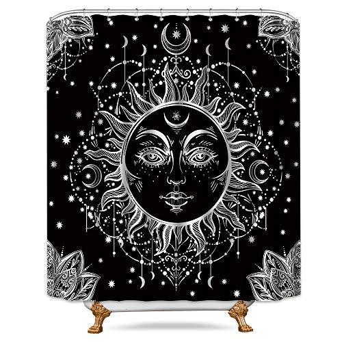 (Riyidecor Mandala CelestialShower Curtain Sun Moon Black and White Decor Medallion Floral Fabric Set Polyester Waterproof 72x72 Inch 12-Pack PlasticHooks)