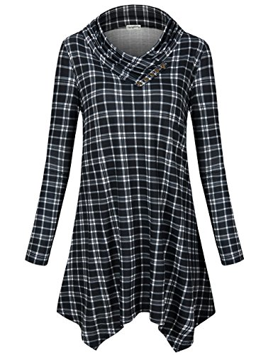 SUNGLORY Women's Cowl Neck Tunic Top Asymmetrical Hemline Plaid Flowy Shirt(FBA) (Asymmetrical Neck Cowl)