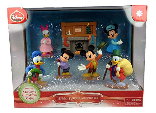 Mickey Mouse Christmas Figurine - Disney Mickey's Christmas Carol Holiday Figurine Collector Set ~ 7 piece