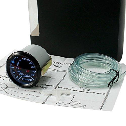 Displays Turbo Boost - cyclamen9 Turbo Boost Vacuum Meter Pressure Smoke LED Universal Auto Turbo Car Gauges(1 PC,black)