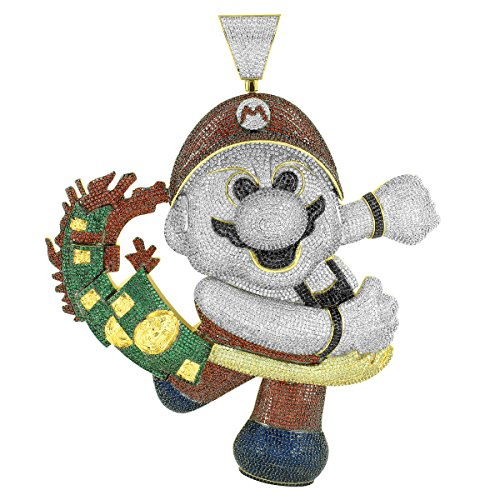 Mario Money Snatcher Pendant Iced Out Pave Custom Video Game XL Charm Lab Diamonds by Master Of Bling