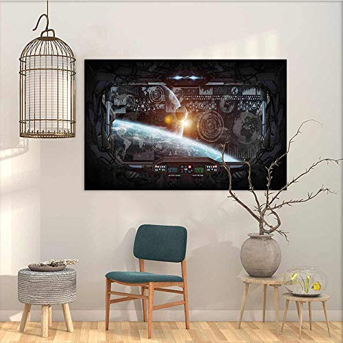 Wall Painting Prints Sticker Outer Space Decor Control Panel of Cockpit Screen in Spaceflight Androids World Stardust Contemporary Abstract Art Orange Gray W23 xL15