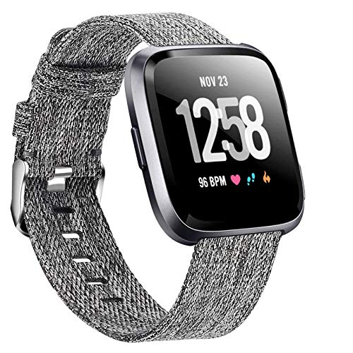 Welltin Bands Compatible with Fitbit Versa/Fitbit Versa 2/Fitbit Versa Lite for Women Men, Breathable Woven Fabric Strap…