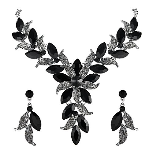 (BriLove Wedding Bridal Necklace Earrings Jewelry Set for Women Crystal Enamel Marquise-Shape Leaf Flower Statement Necklace Dangle Earrings Set Black Silver-Tone)