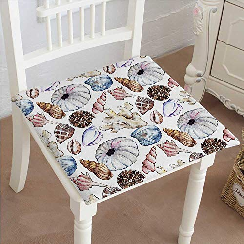 - Mikihome Premium Comfort Seat Cushion Seashell Clam Coral Watercolor Urchin Sealife Reef Creative Warm Weather Background Beach Theme Cushion for Office Chair Car Seat Cushion 22