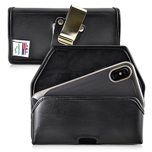 - Turtleback Belt Case for iPhone X 10 Holster, Black Holster Leather Pouch with Heavy Duty Rotating Ratcheting Belt Clip Horizontal Made in USA