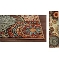 1 Piece Multi Floral Medallion Runner Rug, Artistic Chic Bohemian Entraceway Hallway Long Carpet, Rich Colors Fade Stain Resistant, Hippy Hippie Pattern, Biege Red Orange Blue, Nylon 2ft X 8ft