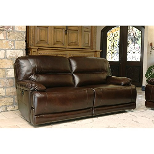 Abbyson Living Rio Power Reclining Hand Rubbed Leather Sofa in Brown