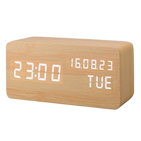 Despertador Digital, Leeron Reloj Digital de Madera con 3 Alarmas Programables, con Control de Sonido Inteligente y LED Brillo de Pantalla de Hora ...