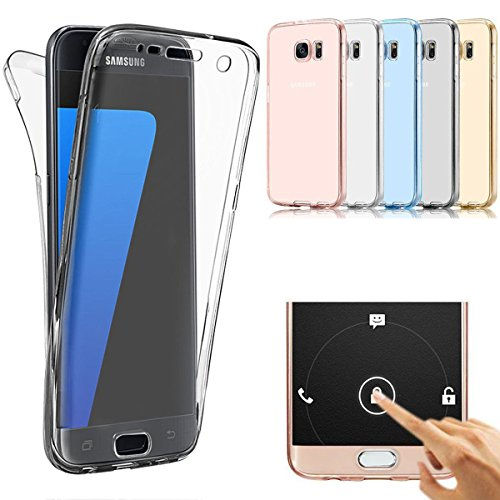 Samsung Galaxy S7 Case, AMASELL Full Coverage 360 degree Front and Back Protective Case Shockproof TPU Gel Transparent Clear Cover for Samsung Galaxy S7 (Transparent (Full Cover Case)