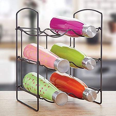 mDesign Práctica estantería para botellas – Botelleros para vino y otras bebidas para guardar hasta 6 unidades – Vinoteca de metal de pie para todo tipo de botellas – color bronce