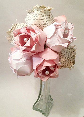 A Dozen Two-toned Paper Roses- Custom first anniversary gift perfect for her, Personalized, one of a kind origami, vase included