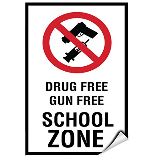 Drug Free Gun Free School Zone Activity Sign School Sign LABEL DECAL STICKER Sticks to Any Surface