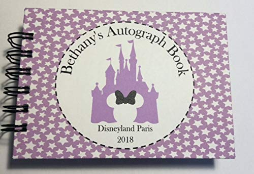 PERSONALISED A6 DISNEY MINNIE CASTLE AUTOGRAPH BOOK. **LILAC STARS** Pocket Size CRATE & BOOK CREATIONS