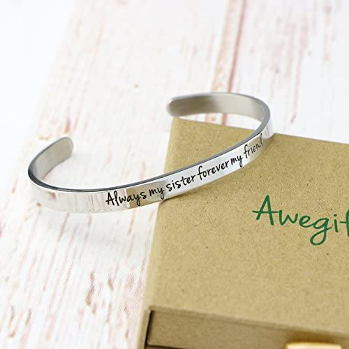 Awegift Gift Sister Bangle Bracelets Mantra Cuff Relationship Stainless Steel Jewelry Wedding Gifts Her