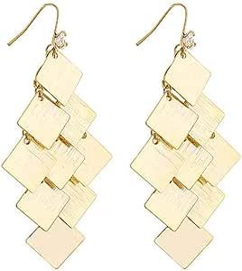 Pendientes Pendientes de diamantes de metal geométricos moda exquisita popular temperamento clásico personalidad estilo largo moda simple exagerar
