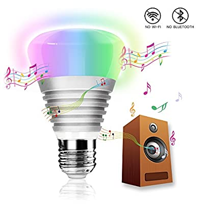[NEW RELEASE]iCherir(TM) Sound Control Ambient Bulb, Animating with Sounds by Color Changes without Wi-Fi or Bluetooth, Plug-and-Play Party Indoor Outdoor Ambience LED Color Bulb