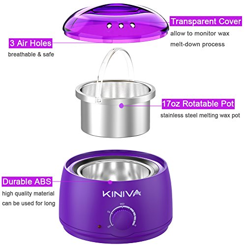 Wax Warmer, KINIVA Electric Hair Removal Waxing Warmer Kit, Professional Wax Heater Pot, Painless Hard Wax Melt Beans Kits, Melting Beads Applicators Sticks – Purple by KINIVA (Image #1)