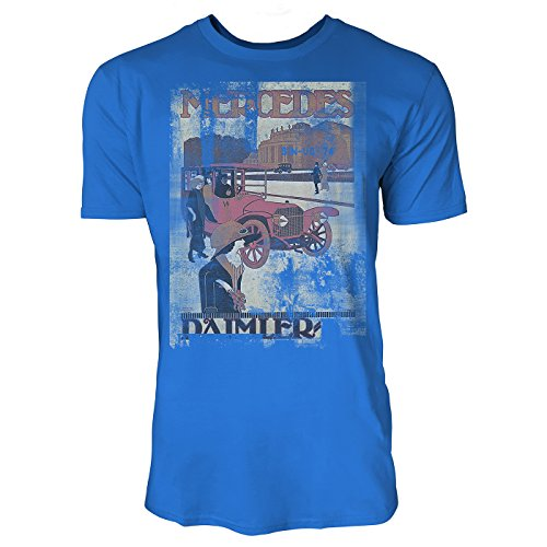 SINUS ART® Oldtimer Herren T-Shirts stilvolles royal blaues Fun Shirt mit tollen Aufdruck