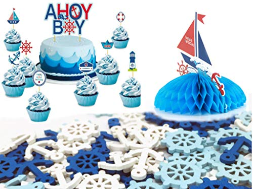 Nautical Table Decorations Centerpiece, Confetti and Cupcake Toppers - For Boy Birthday Celebration, by EASYHOST