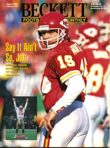 (Beckett Football Monthly June 1995 Joe Montana/San Francisco 49ers/Kansas City Chiefs on Cover, Steve McNair/Alcorn State/Houston Oilers (on back cover), Barry Sanders/Detroit Lions, Eric Dickerson/Los Angeles Rams/Indianapolis Colts)