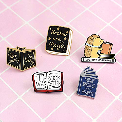 """Novelty Book Themed Brooches"" by SloveM"
