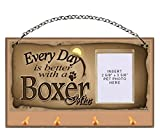 Boxer Mix ''Every Day is Better With a Boxer Mix'' Key and Leash Holder featuring Clear Pocket to Insert Your Photo