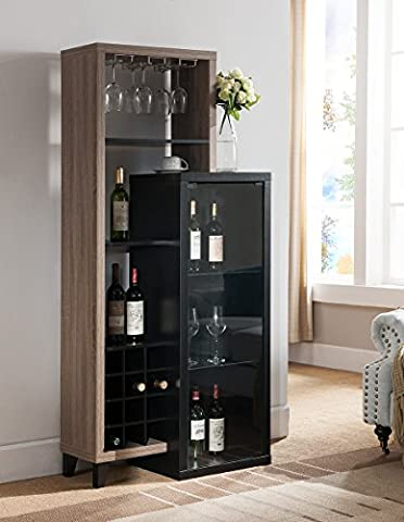 151252 Smart Home Dark Taupe & Black Wine Cabinet - Carmel Bar Table