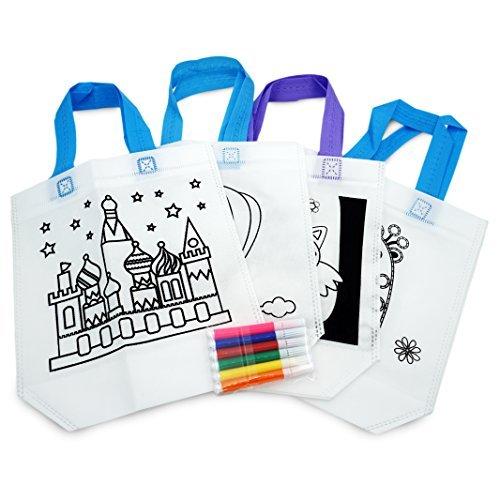 Popculta 4Pcs DIY Graffiti Tote Bag Drawing Toy for Kids (Pack of 4)