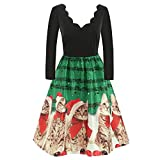 WOCACHI Final Clear Out Christmas Dresses Womens Cat Musical Notes Vintage Swing Dress Long Sleeve A Line Xmas Reindeer Party Prom Maxi Mini Knee Length Slim Fit Backless Sexy Deep V Neck Ruffle