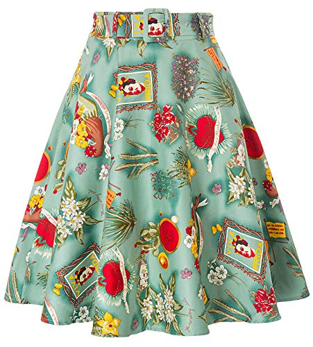 Women's Plus Size A-Line Skirt Midi Skirts with Pockets Floral-1,2XL