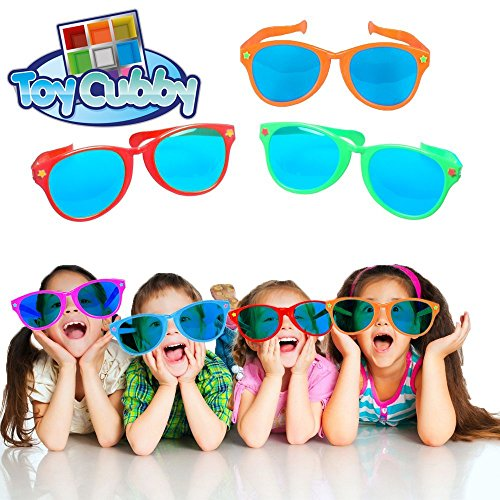 Toy Cubby Adorable Photobooth Blue Lens Oversized Plastic Sunglasses Set of - Oversized Glasses Party