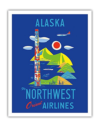 Pacifica Island Art Alaska - Fly Northwest Orient Airlines - Vintage Airline Travel Poster c.1950s - Fine Art Print - 11in x 14in - Northwest Orient Airlines