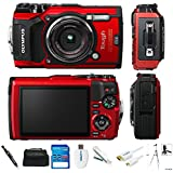 Olympus Tough TG-5 12.0-Megapixel Water-Resistant Digital Camera - Ultra HD 4K Video F2.0 Wide Angle - Red/Black (Basic)