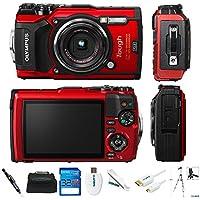 Olympus Tough TG-5 12.0-Megapixel Water-Resistant Digital Camera - Ultra HD 4K Video F2.0 Wide Angle - Red/Black (Basic)
