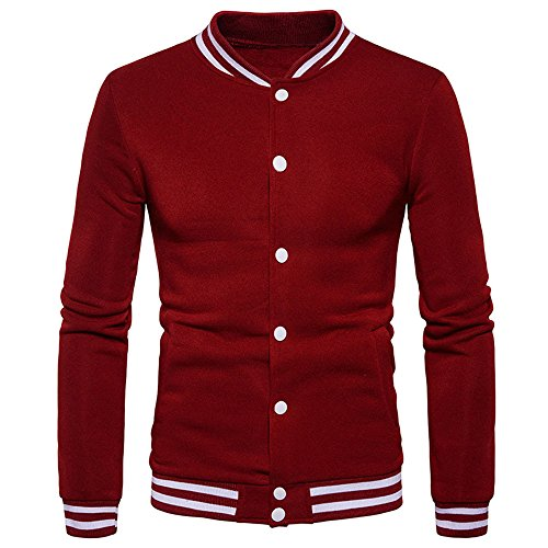 Men's Overcoat for New Mens Fashion Warm Winter Coat Slim Overcoat Clothes,Suit Jacket (L,Wine) by Ennglun Jacket mens Coats