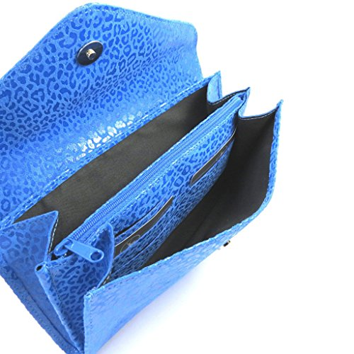 2 Fuelles Bolso Cuero Azul 'frandi'capri leopardo De Bolsa La zzrYvH