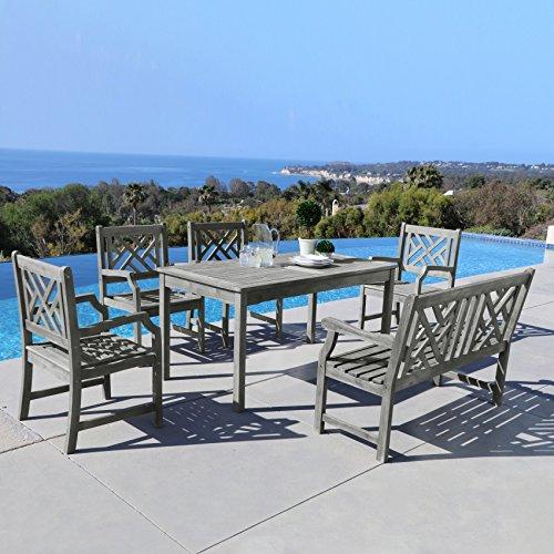 - Vifah V144SET37 7 Piece Malibu Outdoor Wood Patio Dining Set