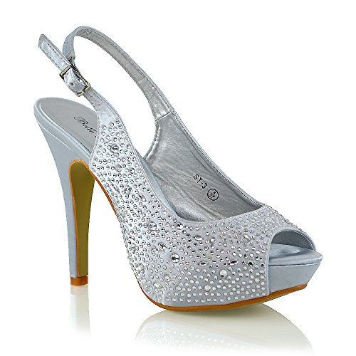 ESSEX GLAM Womens Diamante Dressy Peep to Slingback Silver Satin Bridal Heel Sandals Shoes 9 B(M) US