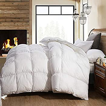 Image of AIKOFUL Goose Down Comforter King Size Solid, White Goose Down Comforter,White Duvet Insert,600TC 700Fill Power Cotton Fabric, Double Edge Gray Piping Home and Kitchen