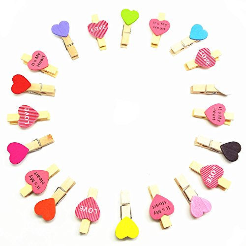 QTMY 20 Pcs Mixed Colors Heart Love It's my heart Wooden Clips for Hanging Photos with Twine