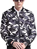 LanLan Rib Bottom Coat Hooded Faux Leather Jackets for Men with Zip Closure Camouflage 4XL