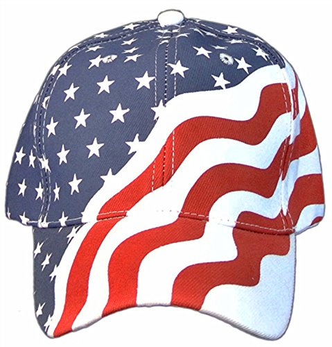 American Flag Patriotic Flag Baseball Cap/ Hat in Red, White and Navy Blue Stars and Wavy Stripes,OS (Hat Cap Stripe)