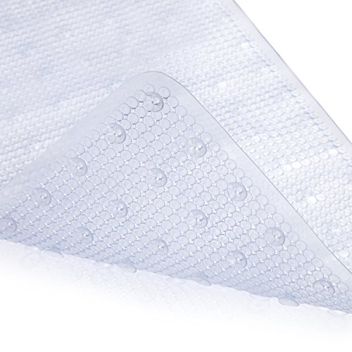 MAYSHINE Non-slip Mildew Resistant Anti-Bacterial Shower Mat (39''x16''), Machine Washable Extra Long Bathtub Mats - White by MAYSHINE