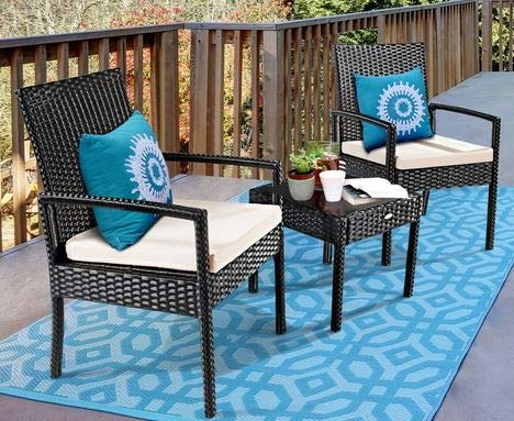 Luca Outdoor- Sunroom Furniture- Out Door Patio Furniture- Three Piece Set Black Rattan Steel Frame with Cushions - Great for Summer Barbecues, Garden Parties, and Afternoons Spent Lounging